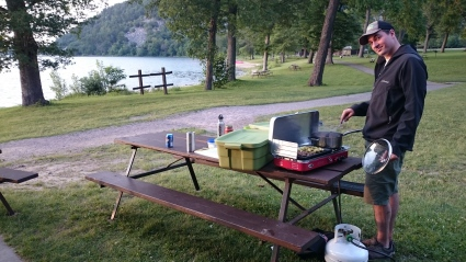 Chef Steve in action at Devil's Lake State Park.