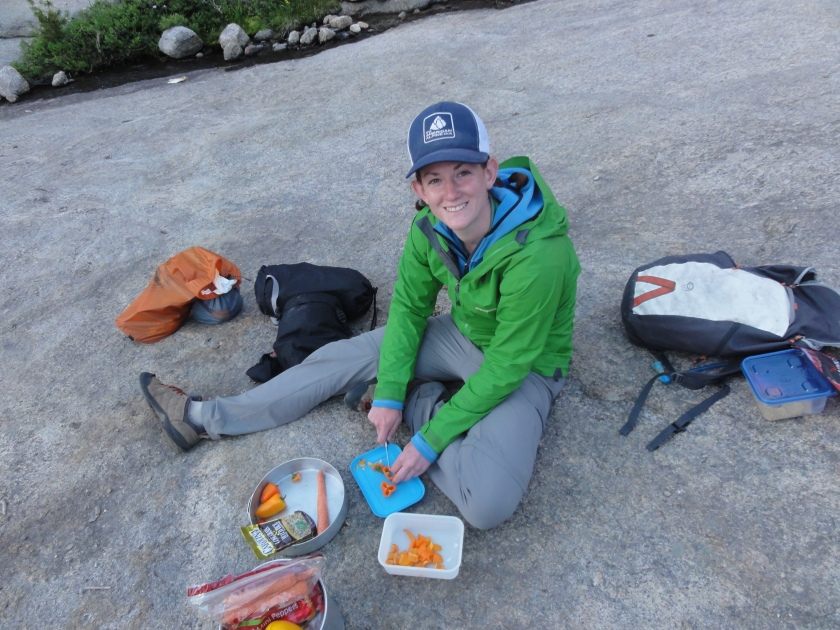 Eating our veggies in the back country.