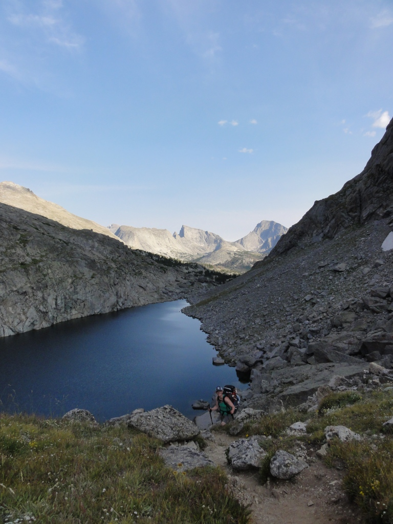 Joanna and George hike past Arrowhead Lake along Jackass Pass.