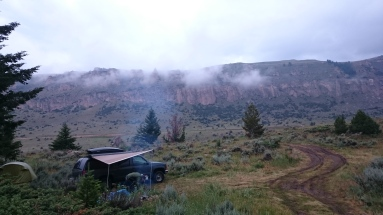 Our campsite in Ten Sleep Canyon. We got good use out of our awning for cooking in the rain.