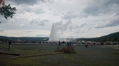 Old Faithful in action with a zoo of tourists. We were lucky enough to show up 2 minutes before the eruption.
