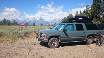 National forest lands overlooking the Tetons made a perfect place to camp.