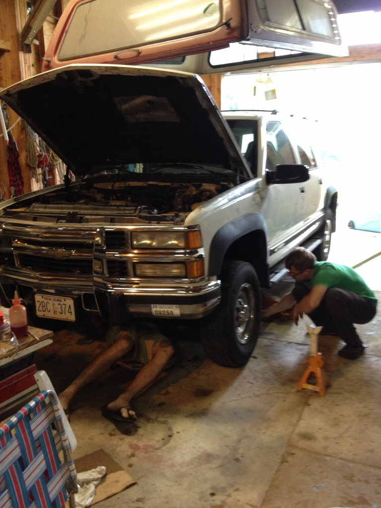 Getting some help from JP to replace the brake lines.