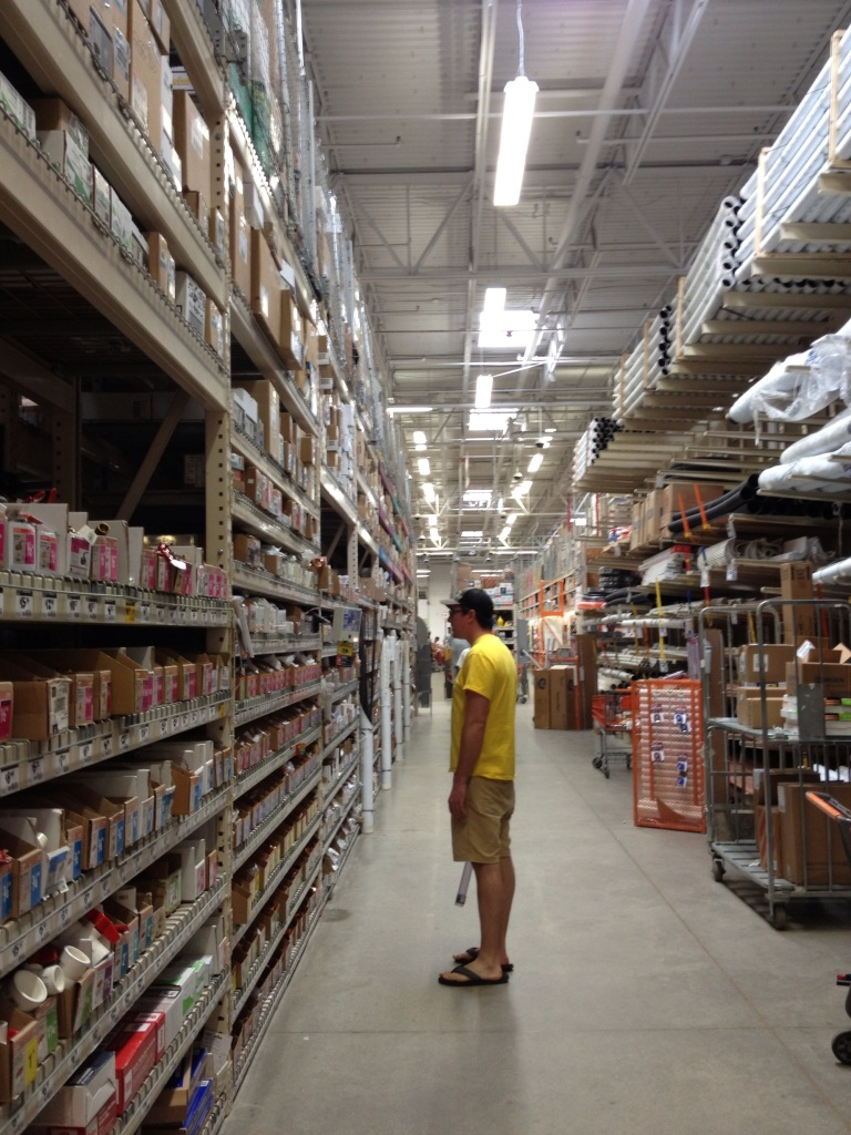 Steve's favorite hobby, looking for plumbing fittings in home depot...