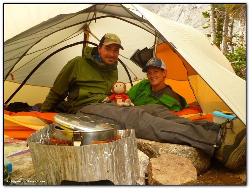 Rainy day tent cooking. Photo credit: Rich Palatino