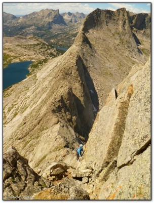 Leading pitch 2 of the North Ridge of Steeple Peak (5.8). Photo credit: Rich Palatino