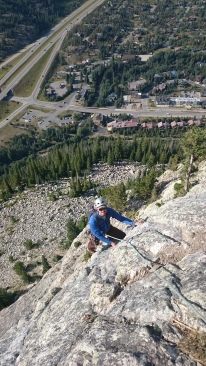 Steve following one of the upper pitches of Royal Flush (5.9).
