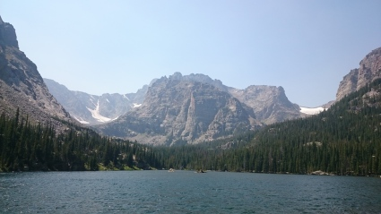 Alpine lake fishing in Rocky Mountain National Park.