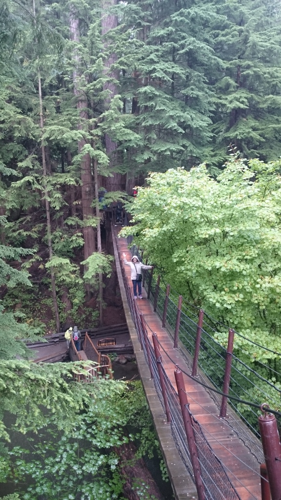 Claudia explores Capilano suspension bridge park.