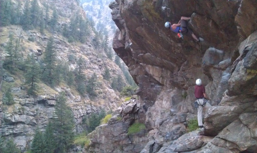 Joanna leads Officer Friendly (5.11c) on The Wall of Justice, Clear Creek Canyon.