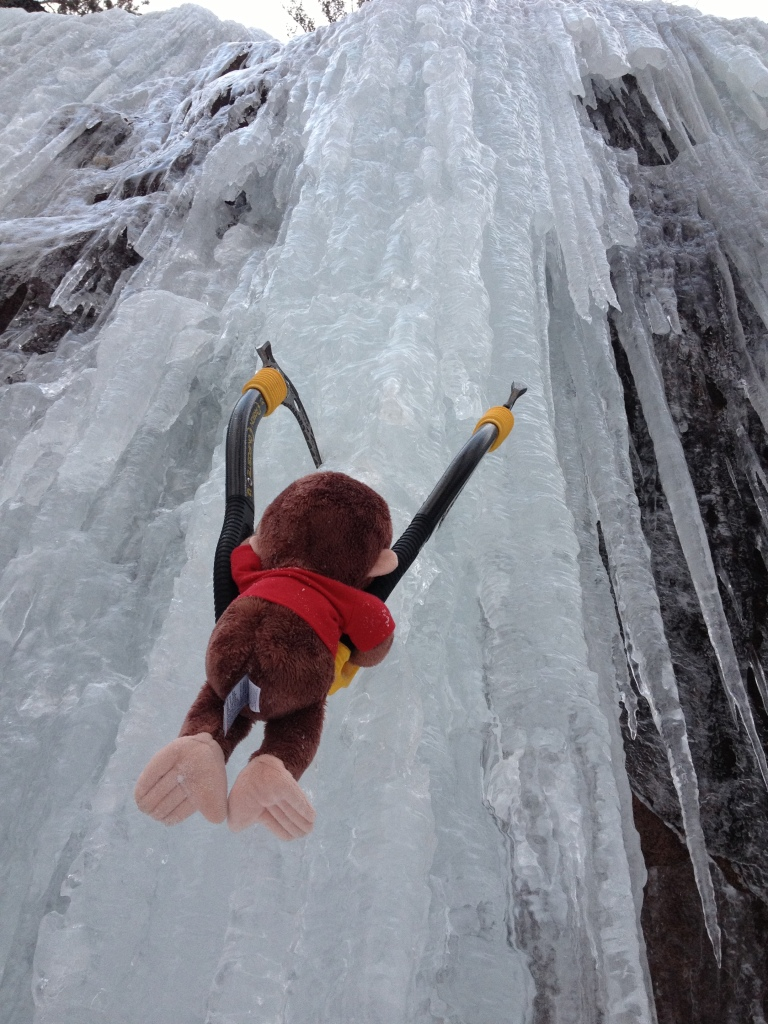 Ice climbing in New Hampshire to begin George's climbing career.