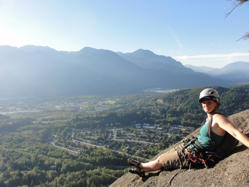 Taking in the views after topping out on Jungle Warfare (5.10a) on Slhanay (The Squaw).