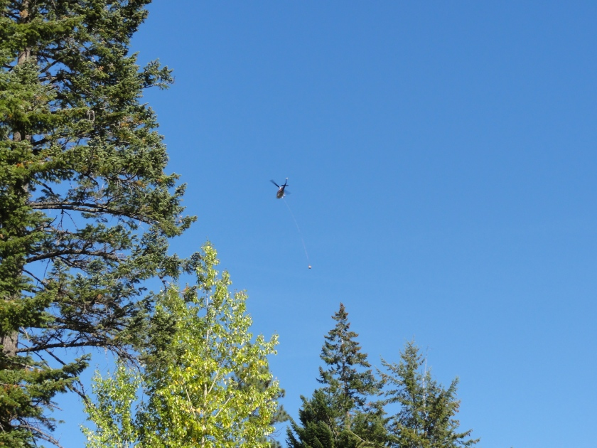 Helicopter with load coming flying right over our Leavenworth campsite from the Enchantments.