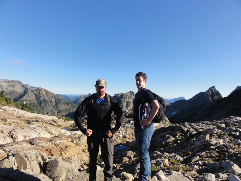 Manly men hiking in the Cascades.