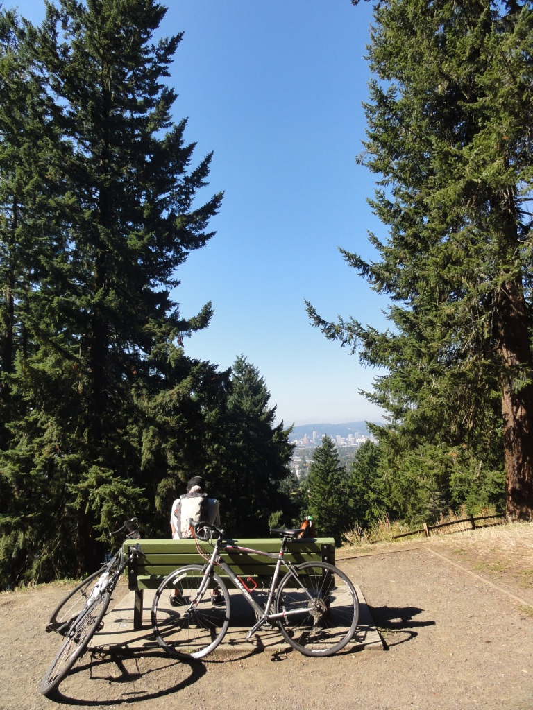 Resting after biking up Mt Tabor, a volcano right in the middle of the city.