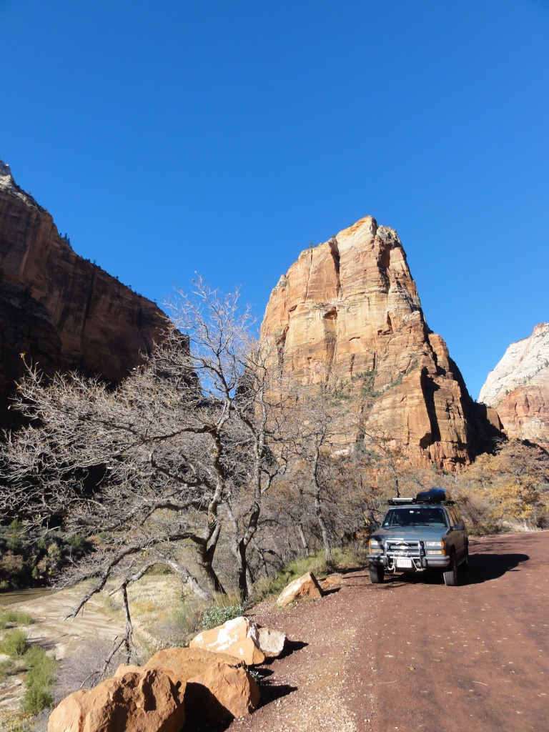 Boris parked in front of Angels Landing.