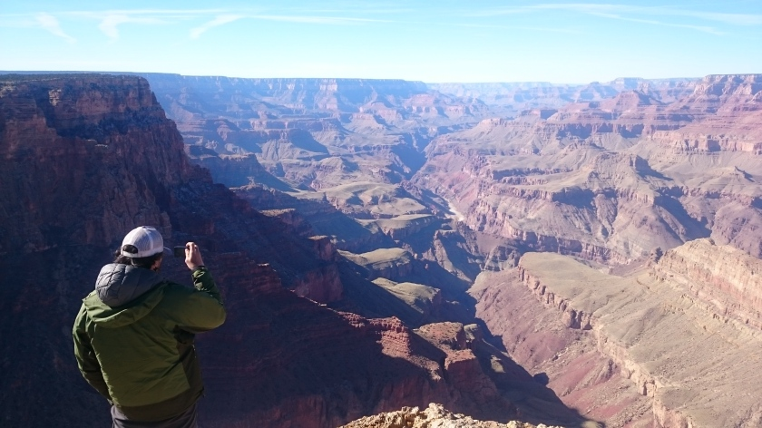 Enjoying a chilly day with views of the Grand Canyon.