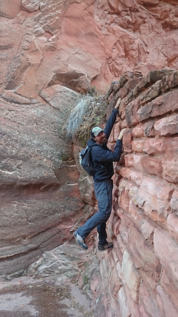 Steve sneaking in some climbing while hiking up to Angels Landing.