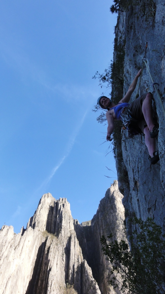 Joanna leads the final pitch of Yogi Unchained (5.10b/c).