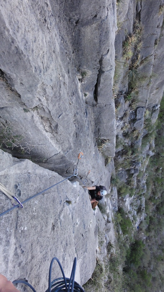Steve works his way up the wide crack section of Excalibur (5.10c).