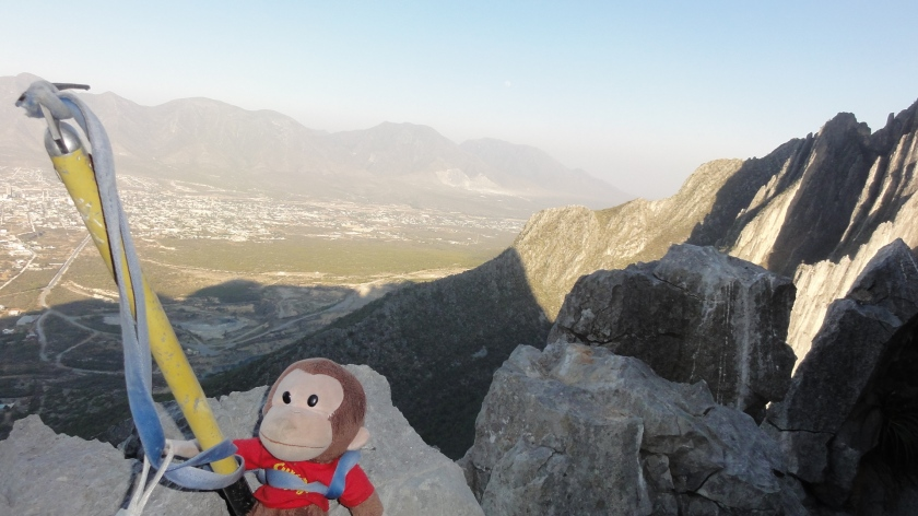 George the explorer scales The Ivory Tower to locate Excalibur high over the city of Hidalgo.